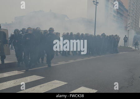 French riot police in action in Toulouse, south west of France, during a demonstration against a gouvernment new - Stock Photo