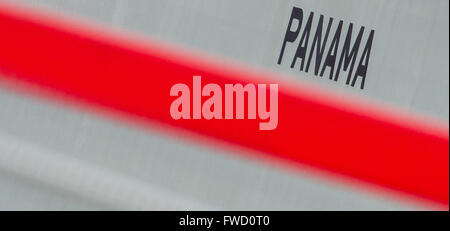 Hamburg, Germany. 04th Apr, 2016. The word Panama is seen on a container ship at the harbour of Hamburg, Germany, - Stock Photo
