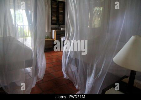 Mango Bay Resort tastefully bedroom, Phu Quoc Island, Vietnam, Asia - Stock Photo