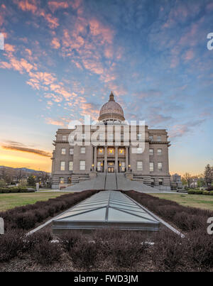 Morning colored sky over the Idaho state capital building - Stock Photo