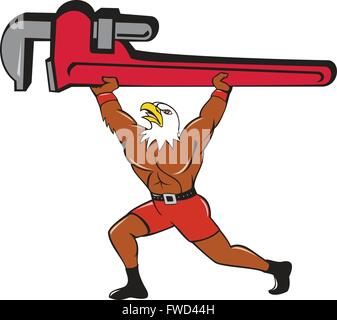 Illustration of a american bald eagle plumber lifting giant monkey adjustable wrench over head looking up to the - Stock Photo