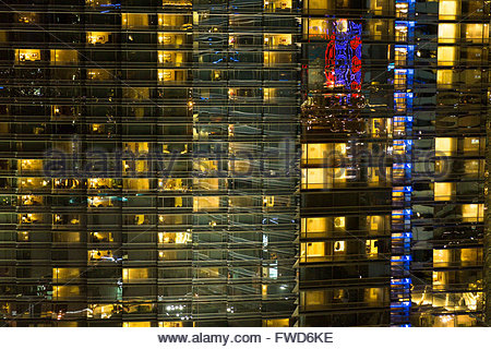 City Center View at Night From The Cosmopolitan Hotel, Las Vegas, Nevada - Stock Photo