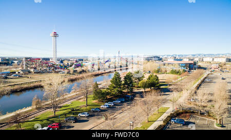 Aerial view of Platte River in downtown Denver in early Spring. - Stock Photo