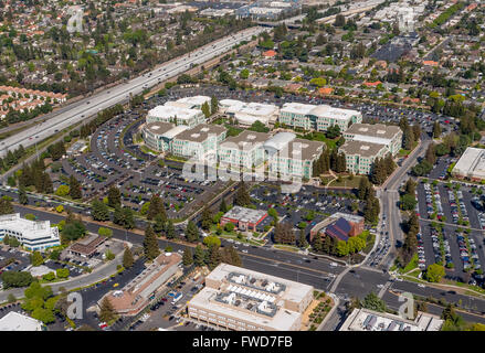 Apple Campus, Apple Inc., aerial, Apple University, above Apple Inc headquarters Cupertino California,  Silicon - Stock Photo