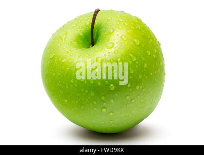 Perfect Fresh Green Apple Isolated on White Background with water drop in Full Depth of Field with Clipping Path. - Stock Photo