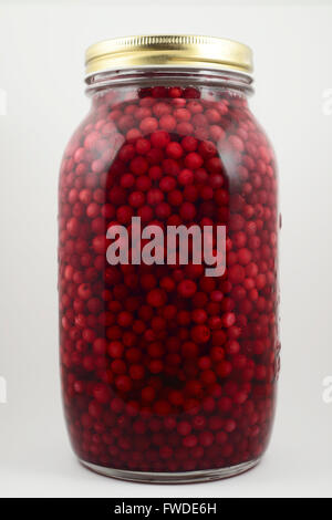 jar with soaked cranberries on a neutral background - Stock Photo