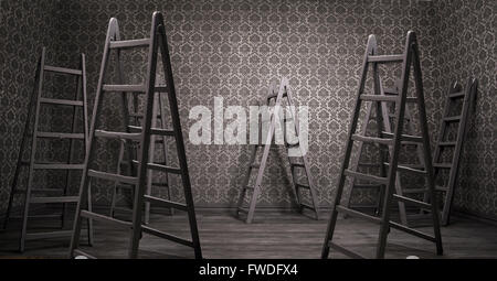Old rusty interior with many shabby ladders - Stock Photo