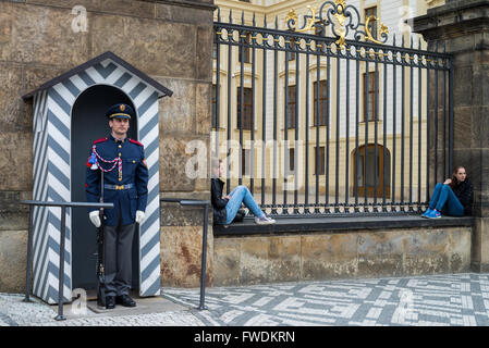 Guard at the entrance of the Castle in Prague, Czech Republic - Stock Photo