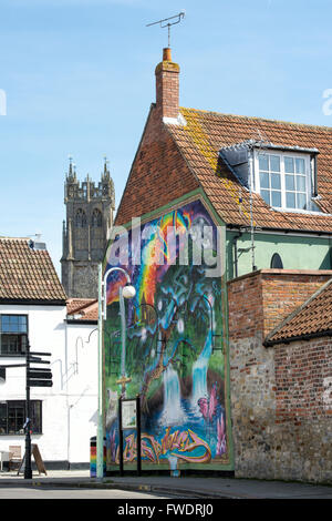 Colourful wall mural glastonbury somerset england stock for England wall mural