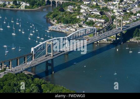 An aerial view of the Tamar and Royal Albert Bridges linking Saltash and Plymouth, Cornwall - Stock Photo