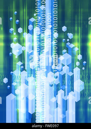 Binary code technology abstract background - Stock Photo