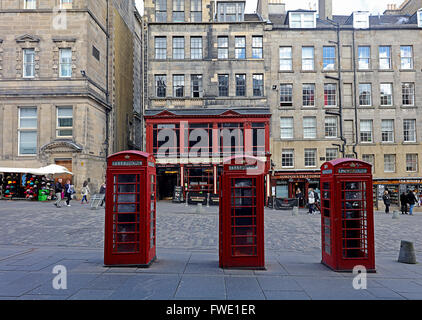 Telephone boxes.Royal mile.Edinburgh.Scotland.UK - Stock Photo