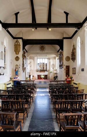 Interior St Pancras Old Church, Somers Town, Camden, London, England, UK - Stock Photo