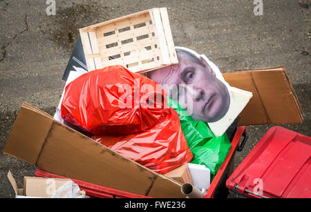 Cardboard cut out of Russian president Vladimir Putin thrown out in a rubbish bin, London, Britain. - Stock Photo