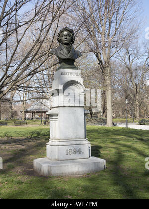 The bronze bust of the world renowned German composer Ludwig van Beethoven (1770–1827) was created by the German - Stock Photo