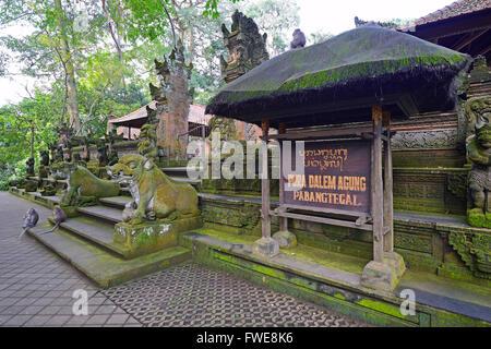 Statues of gods, Pura Dalem Agung, Holy Sacred Monkey Forest, Ubud, Bali, Indonesia - Stock Photo