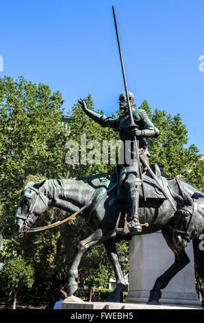 Bronze sculptures of Don Quixote.  Plaza de España is a large square, and popular tourist destination, located in - Stock Photo