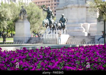 Bronze sculptures of Don Quixote and Sancho Panza.  Plaza de España is a large square, and popular tourist destination, - Stock Photo