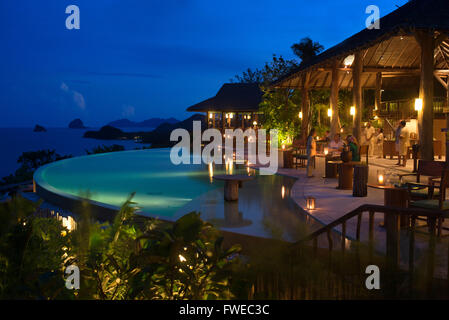 Six Senses Resort, Koh Yao Noi, Phang Nga Bay, Thailand, Asia. Restaurant near the swimming pool called The Hilltop - Stock Photo