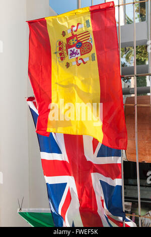 The Spanish and British flags in Alcudia, Mallorca, Balearic Islands, Spain - Stock Photo