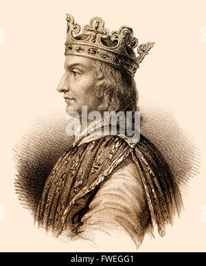 Philip II, called Philip Augustus, Philipp II. August, Philippe Auguste, 1165-1223, King of France from the House - Stock Photo