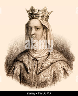 Joan I, Jeanne I de Navarre, Johanna I. von Navarra, 1273-1305, queen regnant of Navarre, queen consort to Philip - Stock Photo