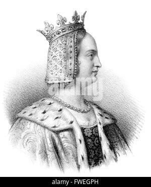 Joan II, Countess of Burgundy, Jeanne II de Bourgogne ou Jeanne I d'Artois, Johanna II. von Burgund, 1292-1330, - Stock Photo