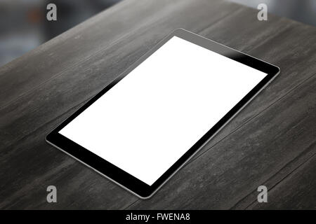 Tablet on wooden table with isolated white screen for mockup. Vertical position isometric view. - Stock Photo