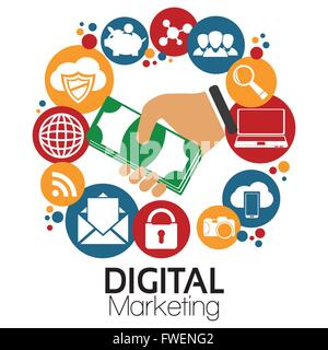 Digital Marketing Mobile Messenger Smart Phone Advertising Vector Banner With Icons