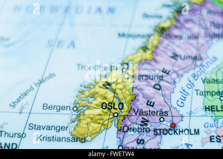 Norway Political Map With Capital Oslo National Borders - Norway map english