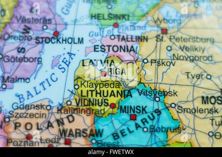 Beautiful photo of a map of Latvia and the capital Riga . - Stock Photo
