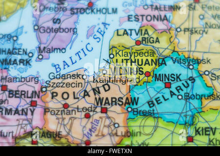 Beautiful photo of a map of Lithuania and the capital Vilnius . - Stock Photo
