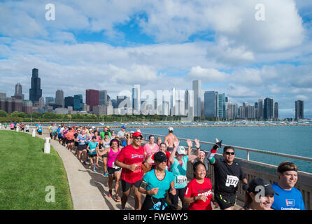 The Chicago Marathon along the lakefront, Downtown Chicago, Illinois, United States of America, North America - Stock Photo