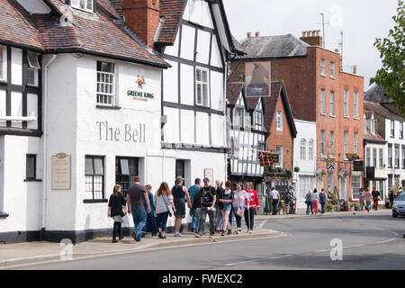 Tewkesbury, UK -July 17, 2015: People gather for the first Medieval Festival Parade on 17 July 2015 at Church Street, - Stock Photo