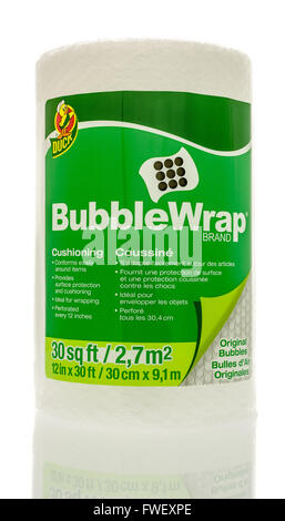 Winneconne, WI - 3 April 2016:  A roll of Bubble Wrap Brand cushioning used for wrapping things to protect them.