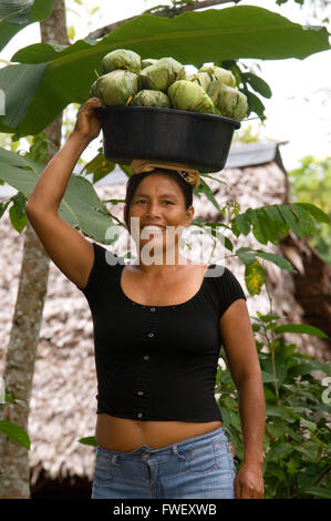 Woman selling Juanes tamales of rice and chicken by traditional method in Timicuro I, Iqutios peruvian amazon, Loreto, - Stock Photo