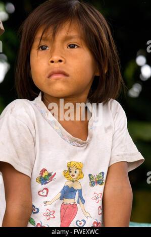Girl of the riverside village of Timicuro I. Iqutios peruvian amazon, Loreto, Peru. - Stock Photo