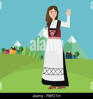 Norwegian Norway Iceland Sweden girls wearing traditional clothes in front of mountain landscape - Stock Photo
