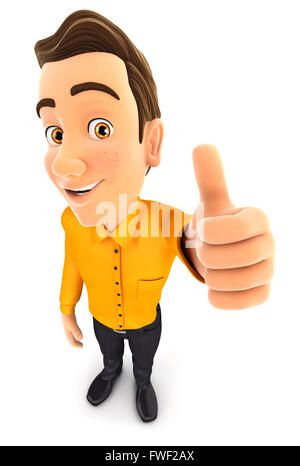 3d man positive pose with thumb up, isolated white background - Stock Photo