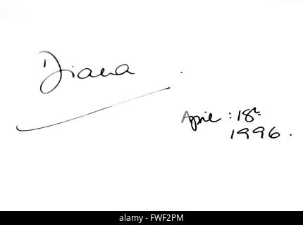 Princess Diana's signature in Madame Tussaud's guestbook at 42nd Street in New York City. USA. please use our image - Stock Photo