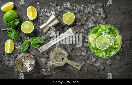 Cocktail drink making tools and ingredients. Mojito. Caipirinha - Stock Photo