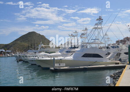 Boats at Marina with Mountain in Background Cabo San Lucas Mexico - Stock Photo