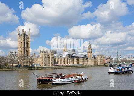 Houses of Parliament, under renovation, London. - Stock Photo
