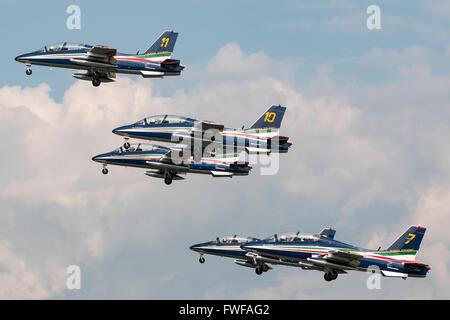 Italian Air Force (Aeronautica Militare Italiana) Aermacchi MB-339 aircraft of the Frecce Tricolori formation display - Stock Photo
