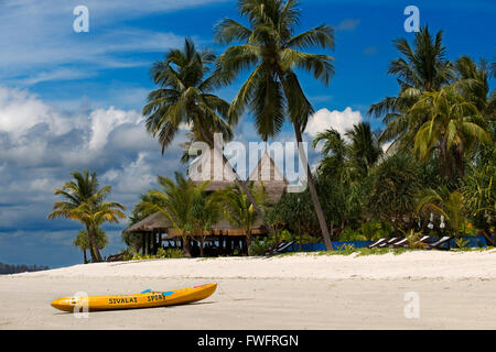 Kayak on a Hotel on a palm-lined beach, Koh Mook Sivalai Beach Resort Hotel, island of Ko Muk or , Thailand, Southeast - Stock Photo