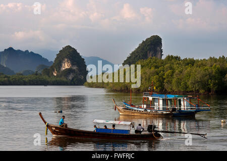 Khao Khanap Nam. Krabi River and Kanab Nam Twin Peaks in the distance, Krabi Town, Krabi Province, Thailand, Southeast - Stock Photo