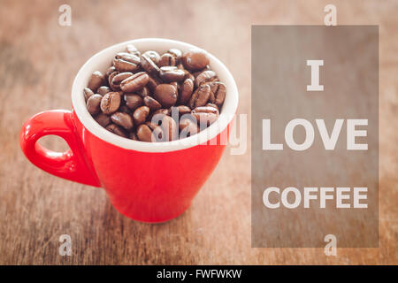... I Love Coffee Inspirational Quote On Coffee Cup Background   Stock Photo