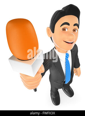 3d business people. Reporter with a microphone. Isolated white background. - Stock Photo