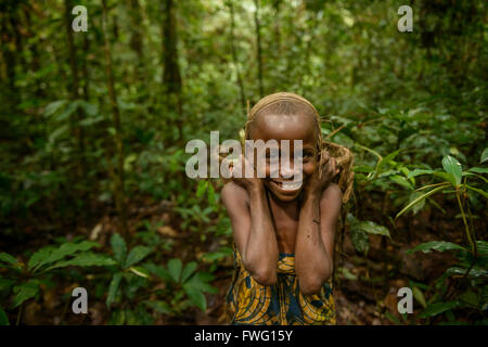 Bayaka Pygmies in the equatorial rainforest, Central African Republic, Africa - Stock Photo