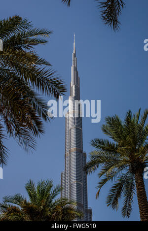 The Burj Khalifa, is a megatall skyscraper in Dubai, United Arab Emirates. It is the tallest artificial structure - Stock Photo